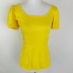 Tee Shop 70s Yellow Ruched T-Shirt Top Sz M